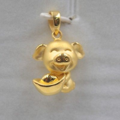 Pur 999 24 k or jaune hommes femmes chanceux 3D Yuanbao cochon pendentif/2.1gPur 999 24 k or jaune hommes femmes chanceux 3D Yuanbao cochon pendentif/2.1g