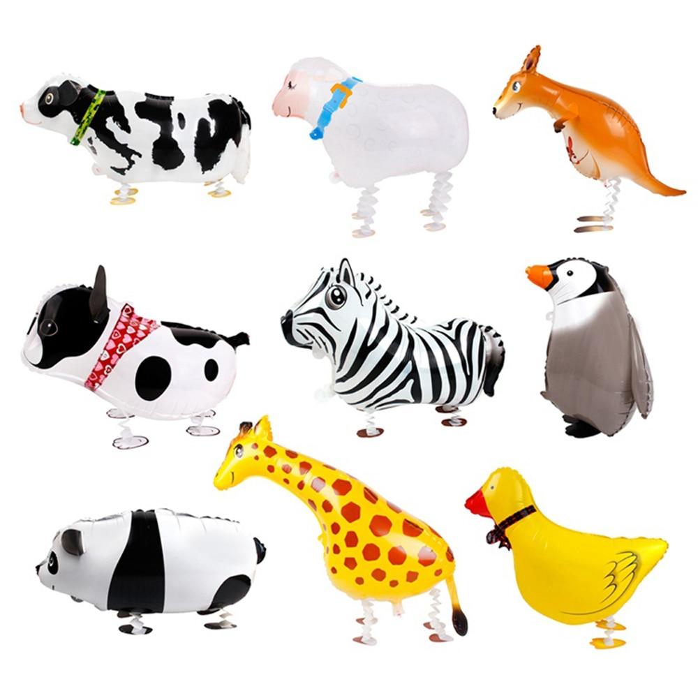 Animal Walking Numbers Foil Pet Balloon Helium Children Party Birthday Decor OS