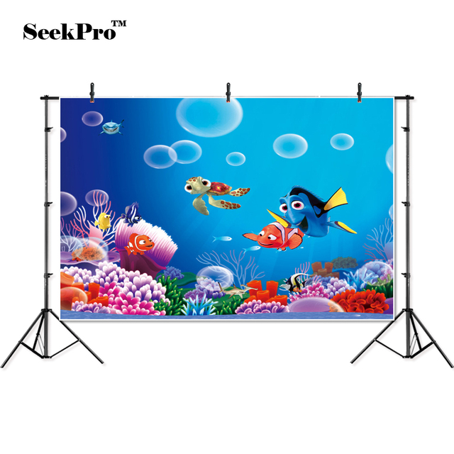 Seekpro 検索ドーリー下ニモ海気泡バナー写真の背景プリントスタジオプロの屋内写真の背景