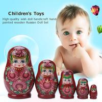 5 katmanlı yenilik rusça yuvalama bebek ahşap matruşka seti el boyalı yenilik rus iç içe geçmiş bebek seti ahşap Matryoshka oyuncaklar|Bebekler|   -