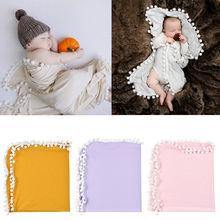 Детское муслиновое Пеленальное Одеяло s Pom Swaddle1 обертывание одеяло для фото новорожденных