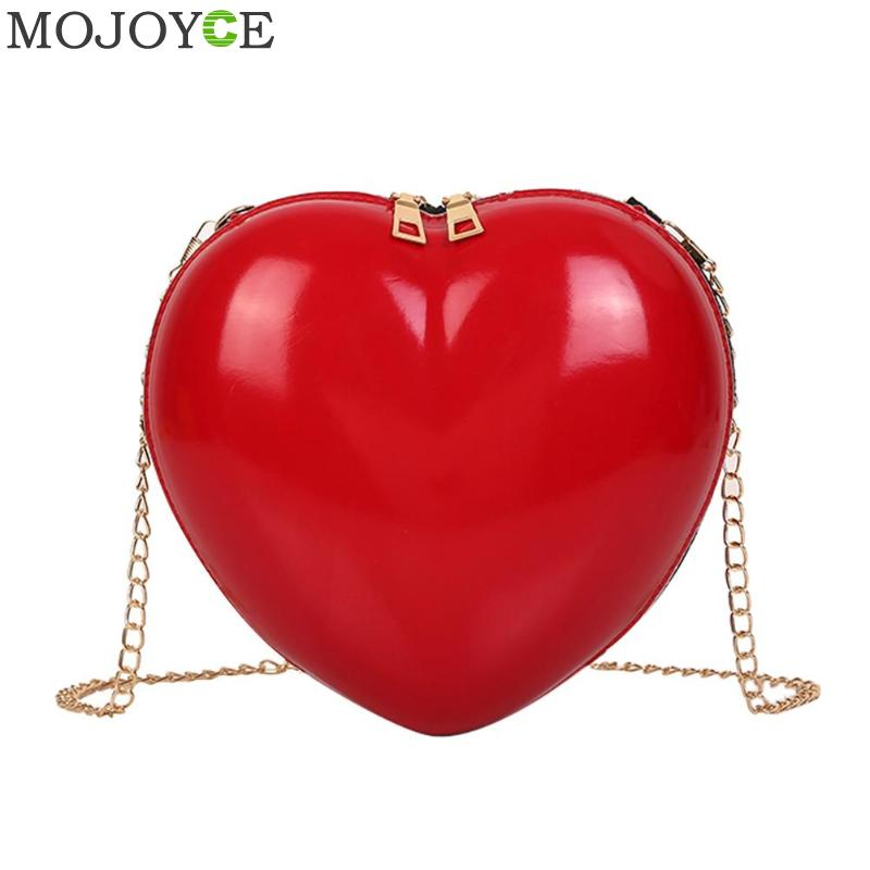 New Fashion Women Crossbody Messenger Bags Cute Solid PVC Shoulder Bag Small Heart Shape Clutch Bag Trend Mini Bolsos Mujer