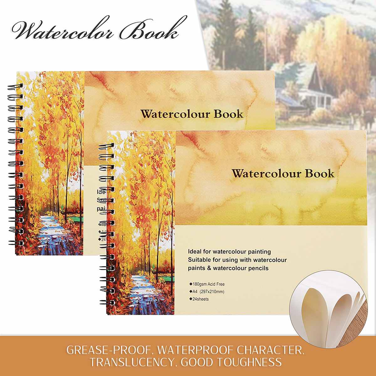 Hot New A4 Watercolor Book Art Artist Sketchbook/Sketch Pad Journal For Drawing Paint For Childrens Painting Notebook Supplies