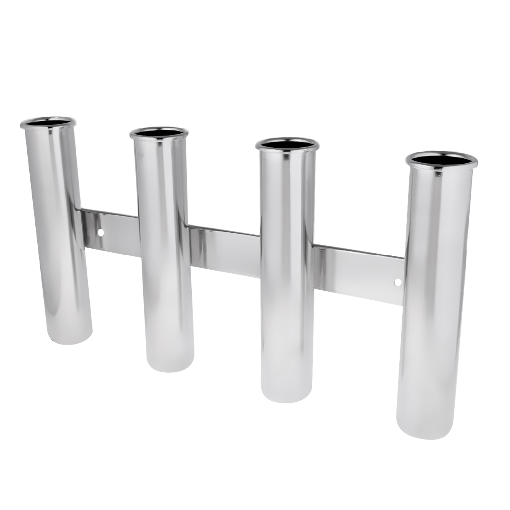 316 Stainless Steel Corrosion Resistance 4 Tube Links Fishing Rod Holder Rack Wall Boat Yacht Mounted