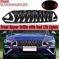 New Car Front Bumper Grille Grill With White/Red LED Lights For Ford For Mustang 2018 2019 Grill For Mustang For Armor Style
