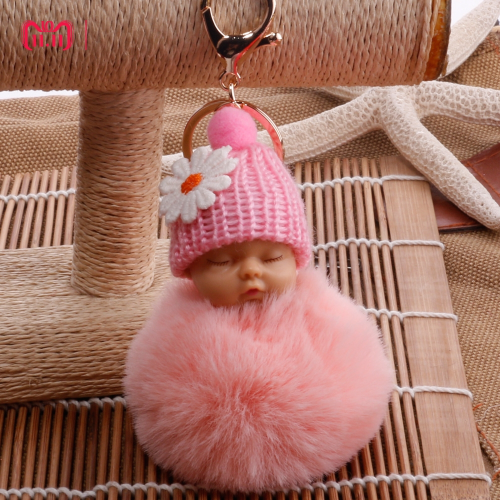DROPSHIPPING Sleeping Baby Doll Keychain Pompom Faux Rabbit Fur Ball Baby Toy Women Trinket Bag Charms