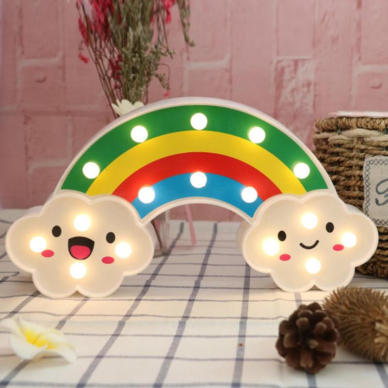 Cute Rainbow LED Night Light Home Kids Bedroom Indoor Lighting Decor Lamp