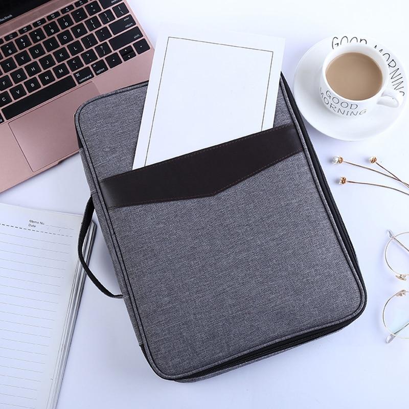Simple Solid A4 Big Capacity Document Bags Waterproof Passport Holder Men Business Briefcase Notebook Handbag Travel Accessories