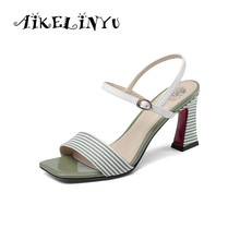 AIKELINYU New Basic Sandals Adult Genuine Leather Casual Office Shoes Stripe Buckle Strap Classics Fashion Sexy Woman