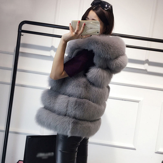 Sleeveless Faux Fur Vest Winter Casual Outerwear Female Solid Fake Fox Fur Hooded Overcoats For Lady 2020 Fashion Fur Vest Femme