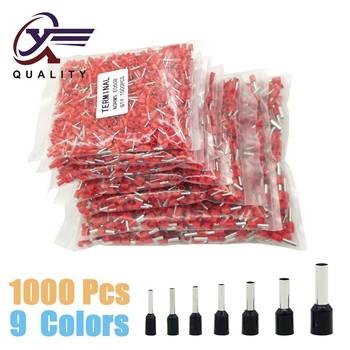 1000pcs/Pack E0508 E7508 E1008 E1508 E2508 Insulated Ferrules Terminal Block Cord End Wire Connector Electrical Crimp Terminator
