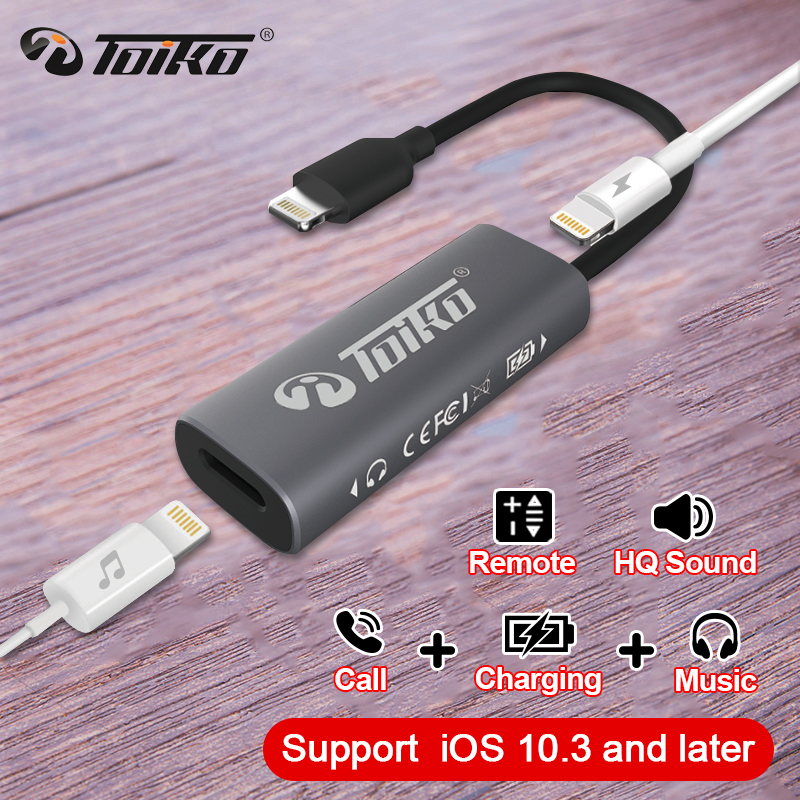 TOIKO 2 in 1 Earphone Charging USB Adapter for iPhone XS MAX XR X 8 7 6 Plus Charger Headphone Splitter for Lightning Phone Call