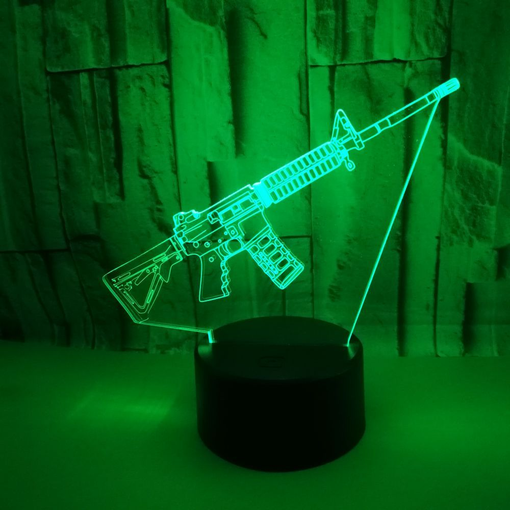 Gun 3d Led Night Table Desk Light  7 Color Touch Remote Control 3d Led Desk Lamp Visual  Creative Gift Small Table Lamps