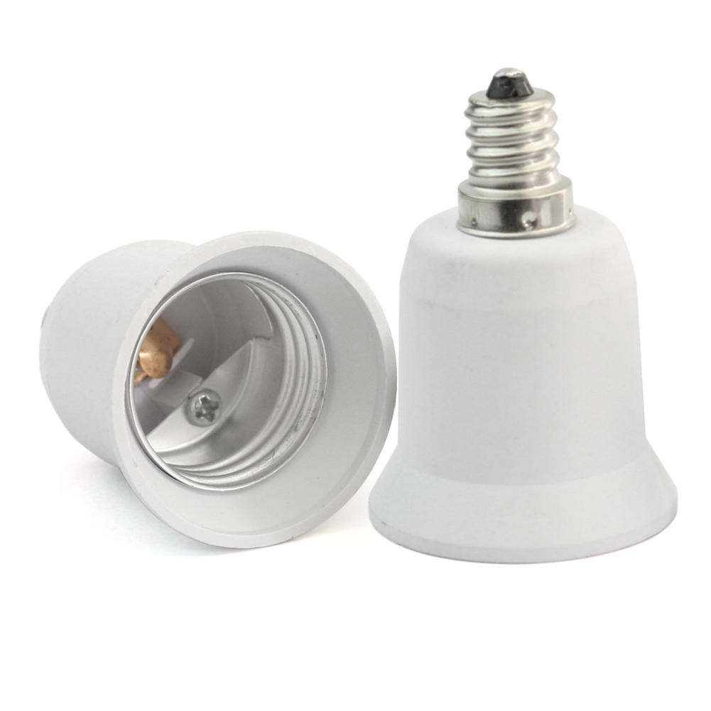 2PCS New E12 Candelabra To E26 Medium Base Light Bulb Adapter Conversion Socket