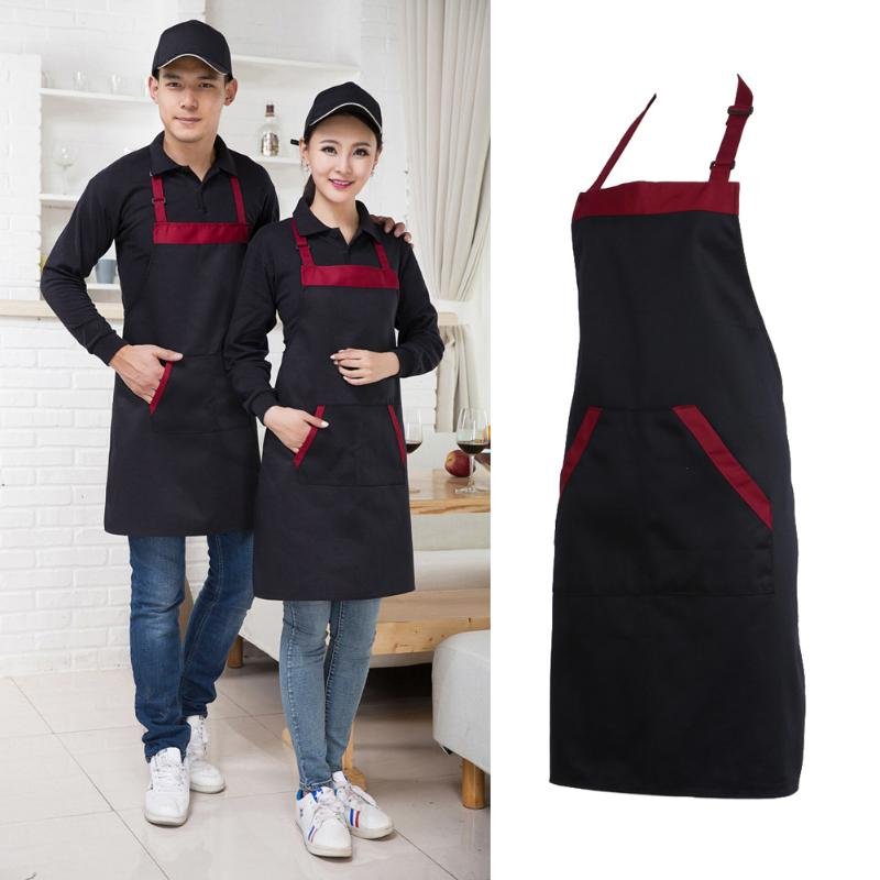 >Unisex Chef Cooking <font><b>Kitchen</b></font> Catering Halter neck Apron Bib with 2 Pocket <font><b>Medium</b></font> <font><b>Size</b></font> Fashion <font><b>Kitchen</b></font> Accessorie Black Red