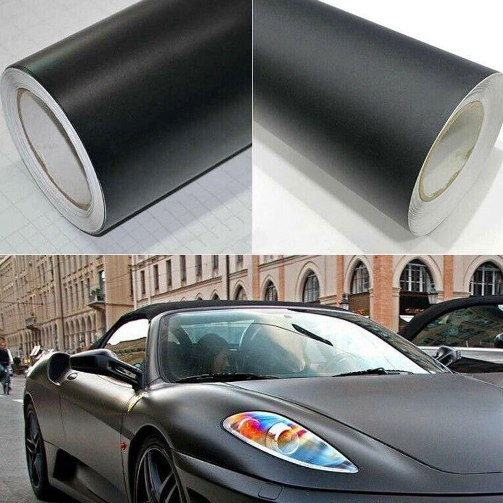 50*152 cm Matte Black Vinyl Film Wrap Car DIY Sticker Vehicle Decal 3D Bubble Car Matte Matte Black Body Color Film