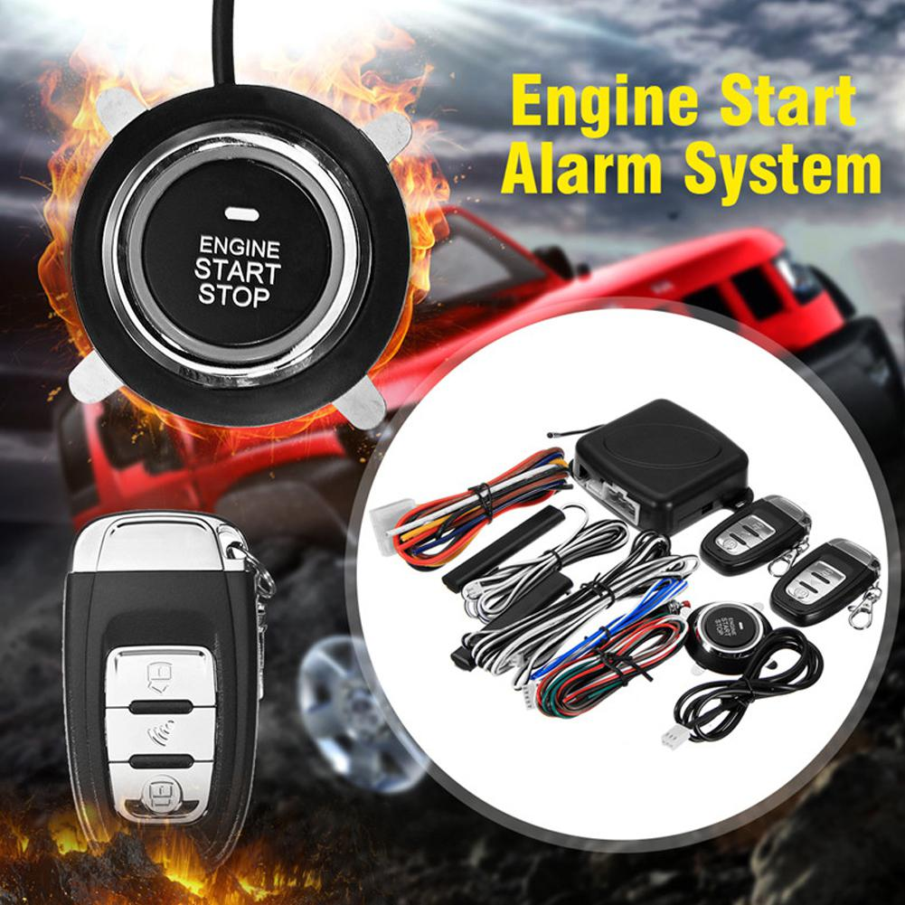9 pièces/ensemble voiture sans clé entrée moteur démarrage système d'alarme bouton poussoir démarreur à distance Central Kit Auto porte serrure verrouillage alarme antivol - 4