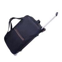 Classic Nylon Luggage Cart Portable Travel Handbag Suitcases On Wheels Trolley Duffel Bag Baggage Organizer Trip Accessories