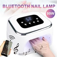 99W UV LED Lamp Nail Dryer Smart Nail Detection Infrared Bluetooth Speaker with Nail Gel Polish Curing Nail Art Tools