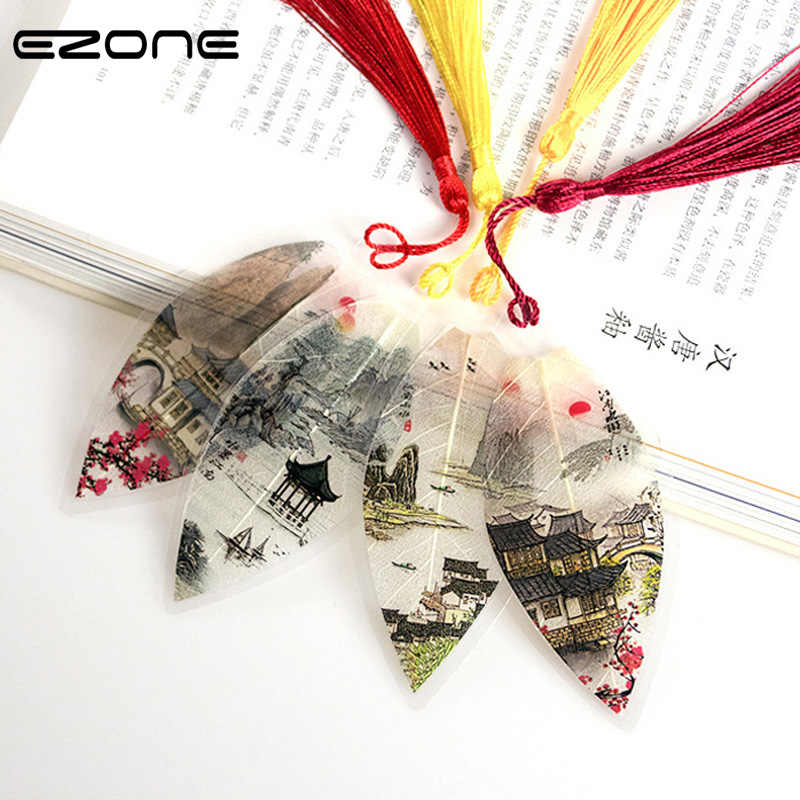 EZONE Random delivery!! Chinoiserie Antique Bookmarks Tassel Bookmarks True Leaves Bookmarks Stationery School Office Supplies
