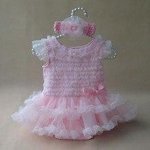 Girl Clothing Set Princess Baby Girls Dress Lace Ruffle Sleeveless Summer Dress Infant Birthday Party Dresses & Headband 2PC