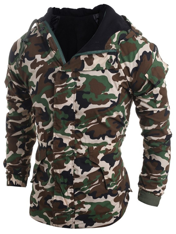 Modish Loose Fit Hooded Multi Pocket Camo Pattern Long Sleeve Thicken Cotton Blend Coat For Men in Parkas from Men 39 s Clothing