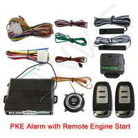 Universal PKE Car Alarm System with Engine Start / Stop Push Button and Engine Start passive Keyless Entry with SHOCK Senor