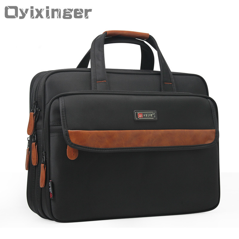 Newest Business Men s Bag Large Capacity PU Leather Nylon Man Computer Bag 15 6 Inch