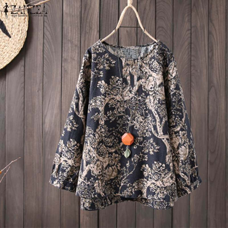 ZANZEA Spring Women O Neck Long Sleeve Bohemian Cotton Linen Blouse Vintage Floral Printed Shirt Loose Casual Top Femme Blusas
