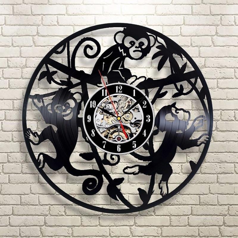 Little Monkeys Record Clock Cute Animal 3d Wall Clock Antique Vinyl Record Hanging Clock Handmade Creative Hanging Led Clock