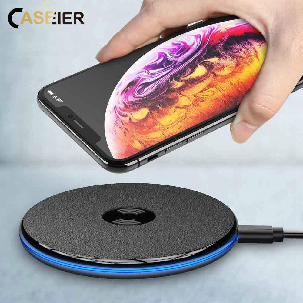 CASEIER 5 W Rápido Carregador Sem Fio Qi Para o iphone 8 Mais XS Max USB Carregador Sem Fio Pad Portátil Carga Rápida 3.0 Para Samsung S9