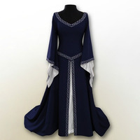 European and American classical Halloween Christmas, Europe Party long sleeve embroidery round collar slimming lady dress