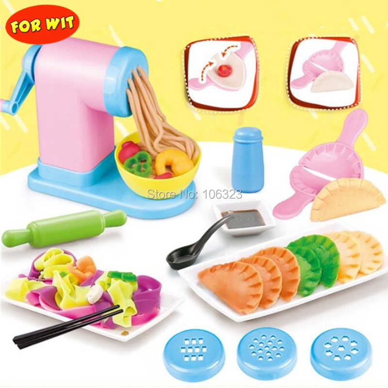 2018 New 3D Color Clay Mold, Non toxic Plasticine Modeling Tool Kit, Noodles Machine Dumplings Maker, Chinese Food Playdough Toy