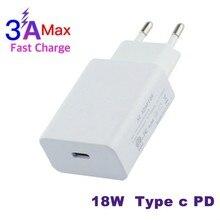 Usb type-C PD зарядное устройство адаптер для Apple MacBook/iPhone X/Новый iPad type-c USB-C PD Быстрая зарядка 18 Вт стены/путешествия зарядное устройство адаптеры