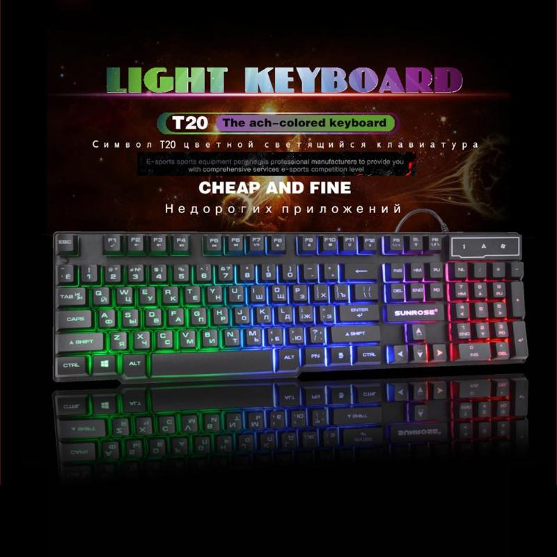 Sunrose k201 usb wired gaming keyboard 104 teclas 3-color backlight splashproof capacitivo sentir teclado com pacote para lol jogo