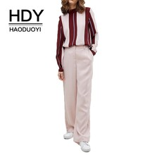 HDY Haoduoyi 2019 New Women Blouse Contrast Stripes Stitching Half-high Collar Pullover Shirt
