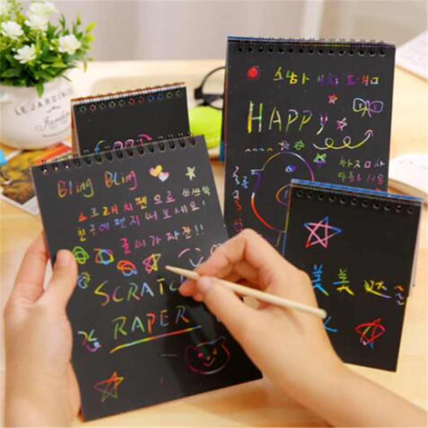 1Pcs Magic Color Scratch Art Paper Book Coloring Scratch Cards Available On Both Sides Scraping Drawing Toys For Children