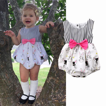 Pudcoco Girl Clothes Cotton Cute Newborn Baby Infant Bunny Rabbit Romper Jumpsuit Outfits