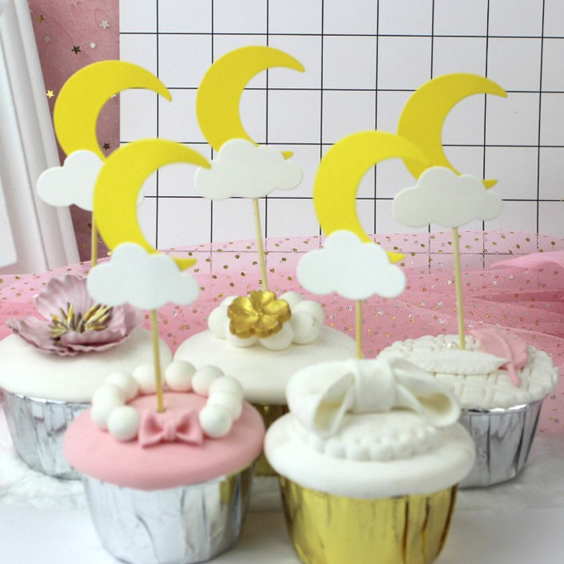 5 Pcs/lot Cute Paper Moon Cloud Cake Cupcake Toppers Kids Birthday Cake Topper Cake Decoration Baby Shower Event Party Supplies