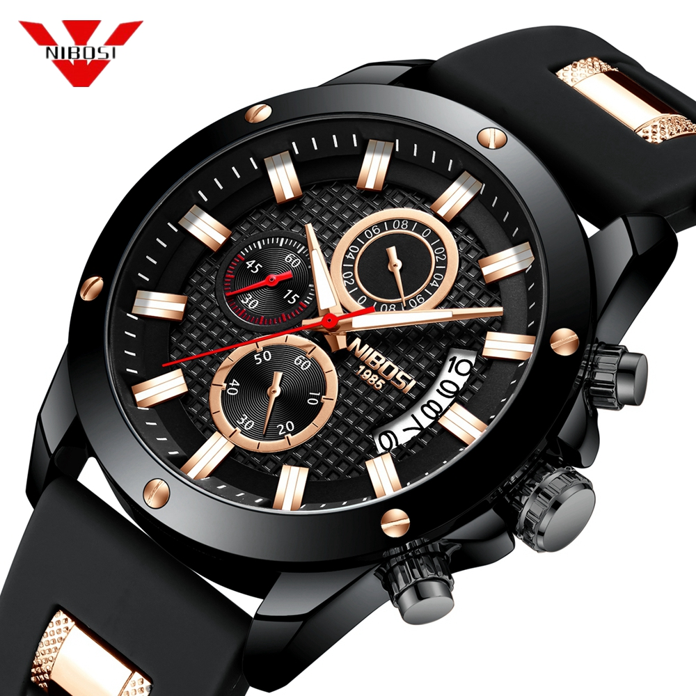 все цены на NIBOSI Men's Chronograph Analog Quartz Watch Date Clock Military Sport Mens Watches Top Brand Luxury Silicone Wristwatch Gift