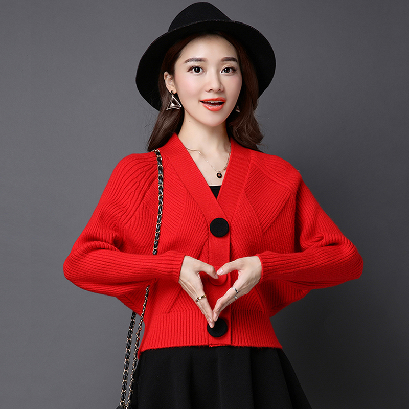 2019 New Elegant Fashion Warm Autumn Winter Women Cardigan Long Bat Sleeve Sweater Short Korean V Neck Knit Cashmere Loose Tops