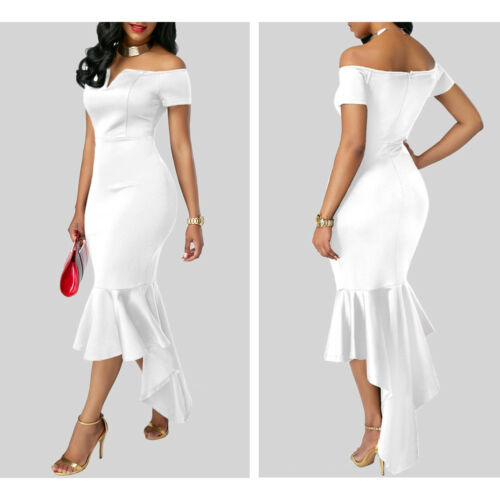2019 Women Evening Party Club Wear Short Sleeve Off Shoulder Ruffle Asymmetric Midi Dress 4