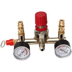 Image 4 - Compresor de aire de alta resistencia para Nuevo regulador, interruptor de Control de presión de bomba de aire de 4 puertos, válvula de Control de 7,25 125 PSI con manómetro
