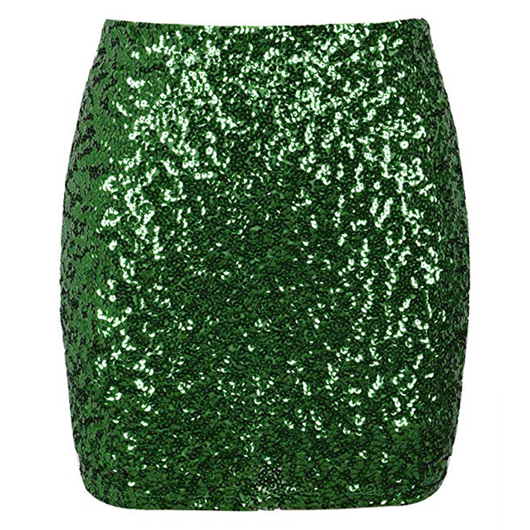 Women Reflective Shiny Sequined Skirt Sexy High Waist Glitter Silver Gold Pencil Skirts Bodycon Female Party Mini Skirt