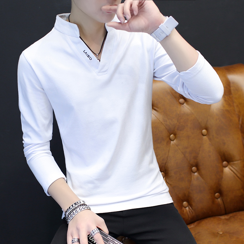 2019 High Quality Brand Mens   Polo   Shirt Slim Fit Solid   Polo   Shirts Long Sleeve Stand Collar Shirt Camisa   Polo   Grande 5XL