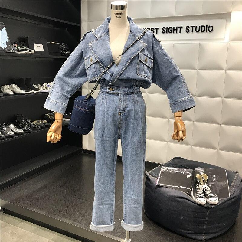 Bleu Longues Jeans Nouveau Ample 2018 Décontracté Combinaison Sac Étudiants À De Manches Denim En Barboteuse Femmes Pantalon Kelly Salopette 40Y4x7qdw