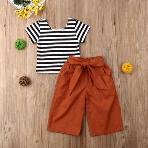 Pudcoco 2019 ילדים בנות בגדי סט אביב סתיו ילדי בגדים קובע שרוול קצר חולצה + מכנסיים גבוהה מותן 2 חתיכות אימונית