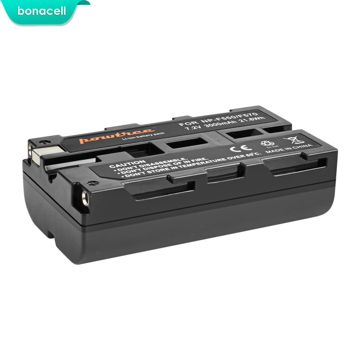 Bonacell 3000mAh NP F550 NP F550 NPF550 Battery LCD Dual Charger for Sony NP F330 NP F530 NP F570 NP F730 NP F750 Hi 8 L10 in Digital Batteries from Consumer Electronics