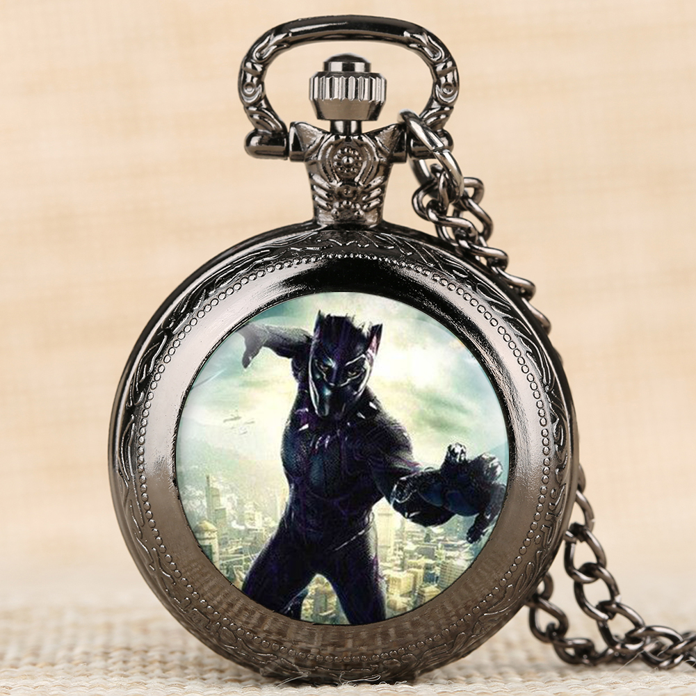 Black Panther Men Pocket Watch Rome Scale Quartz Pocket Watch For Boy Classic Retro Gift Pendant Necklace For Teenager