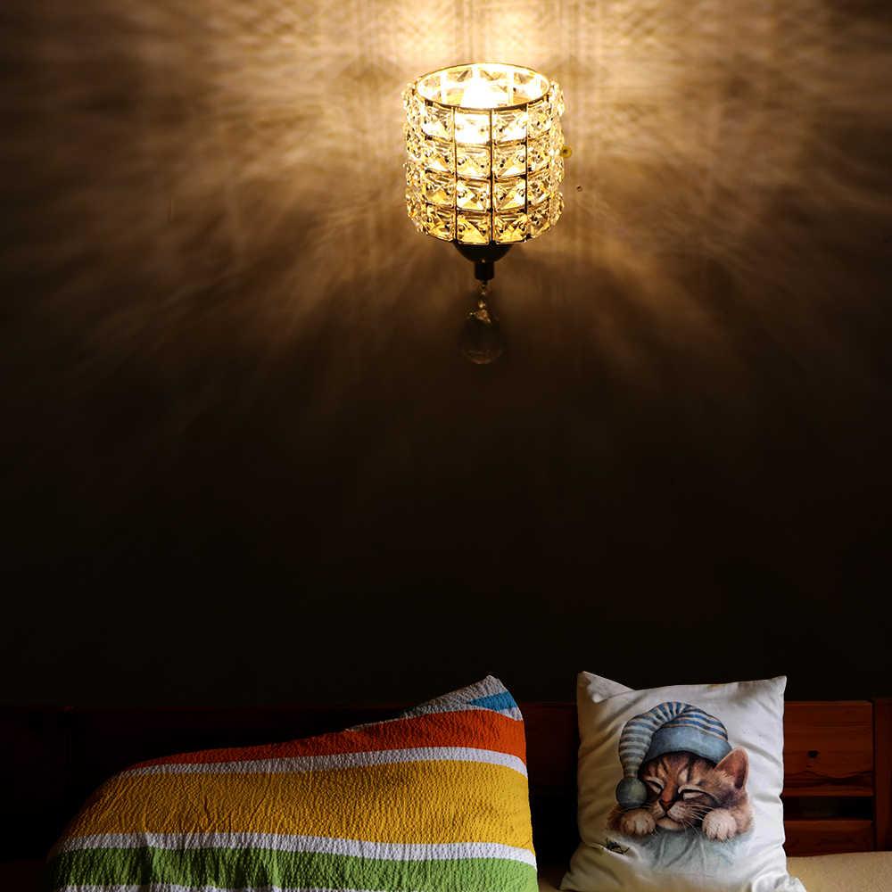 Современный настенный светильник кристалл настенный кристалла подвесной светильник провода переключатель AC 85-250 В E14 разъем светодио дный стена света американский бра
